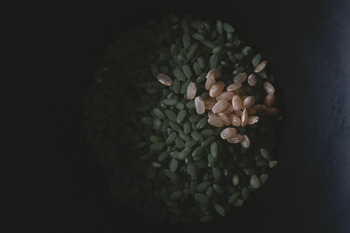 Still life of bowl of uncooked green bamboo rice with brown rice