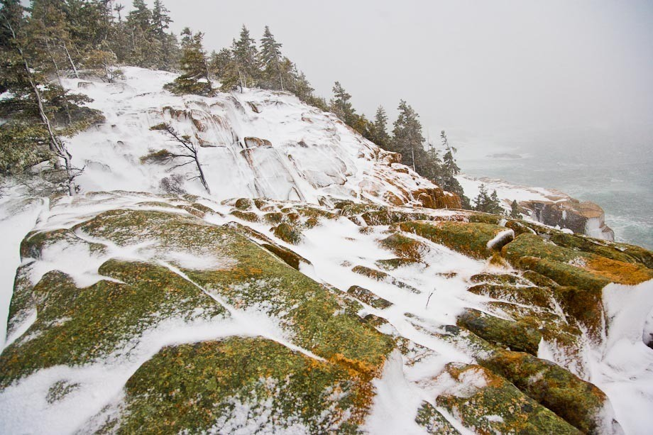 Snow and ice on rocks in Acadia National Park during a Winter Storm