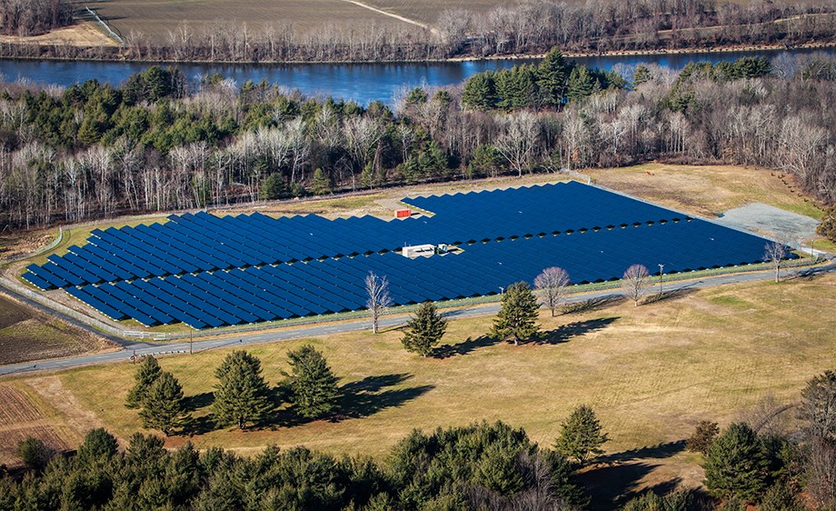 Aerial image of a solar array in Northfield, Massachussetts.