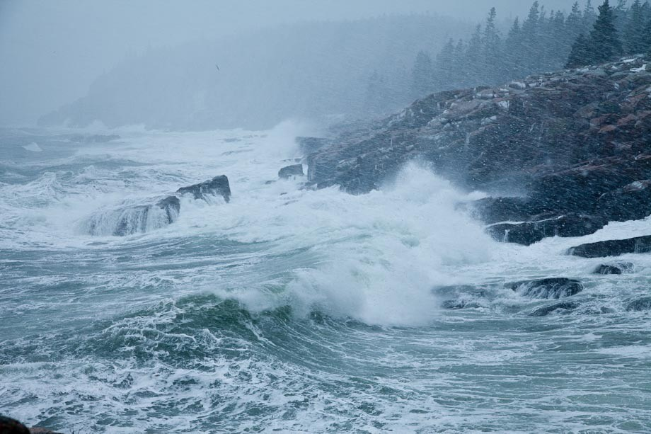 Crashing waves during a Winter storm in Acadia National Park.