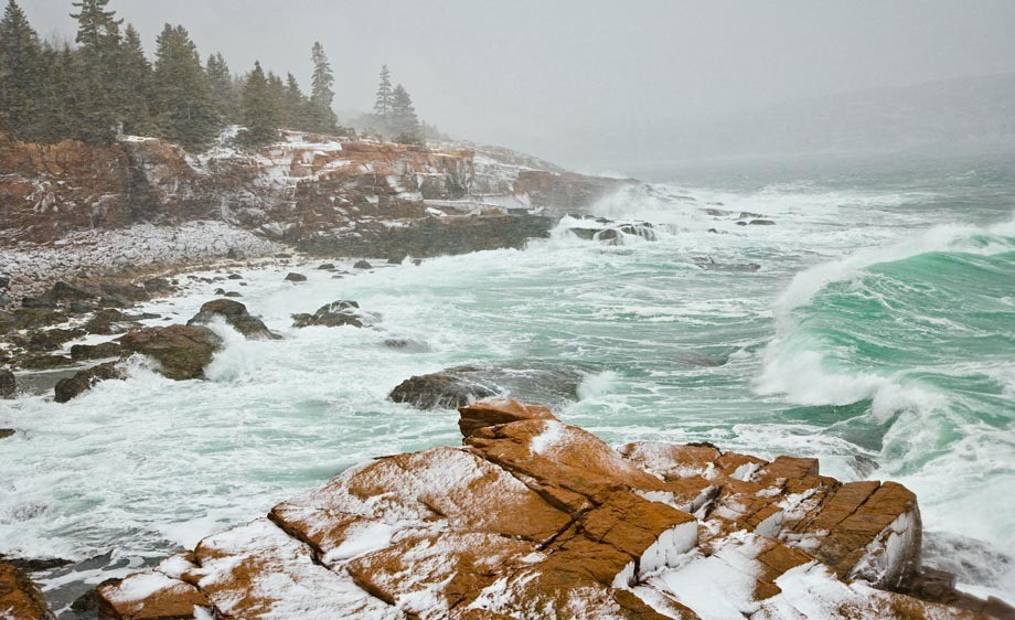 At the height of a Blizzard in Acadia National Park