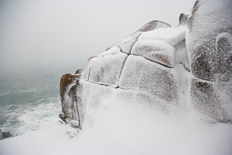 Icy Rocks during a Winter storm in Acadia National Park.