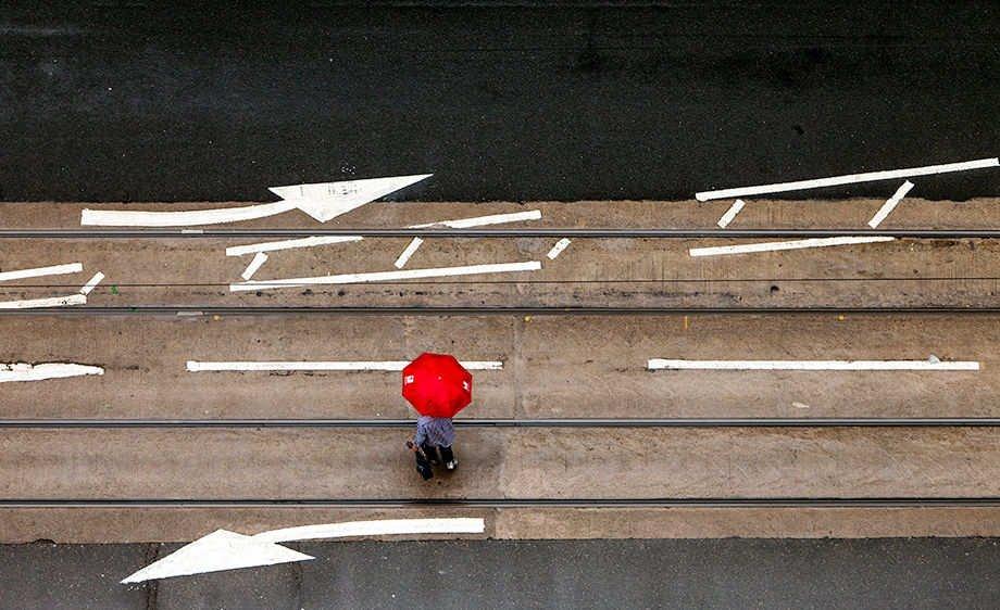 Red umbrella in Hong Kong, China.