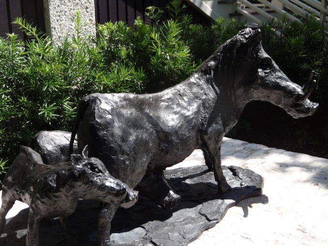 Warthogs, bronze. 6'x4.5'.  Commission