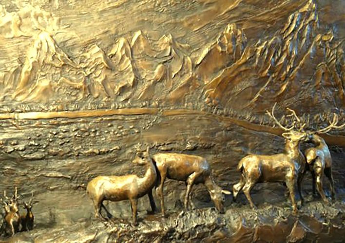"Elk Migration; bronze relief; 26""x43"".  Commission."