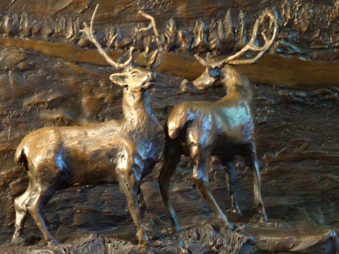 """Elk Migration; bronze relief; detail.  26""""x43"""".  Commission."""