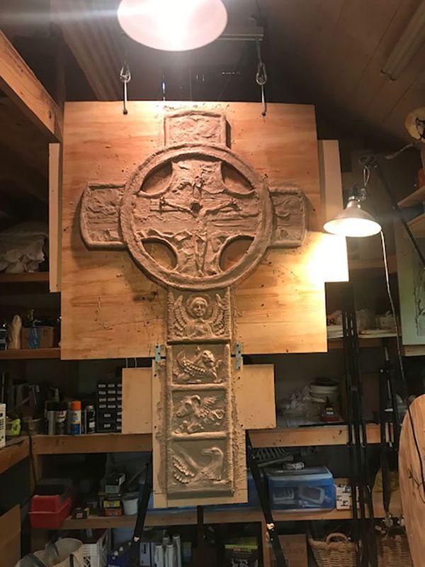 Celtic Cross in Clay in Studio