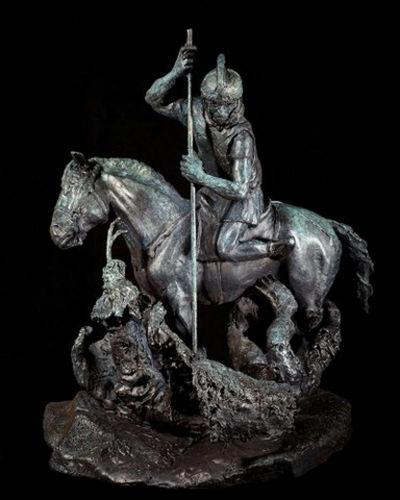 "ST.GEORGE SLAYING THE DRAGON, bronze, 27"" high, $12,500."