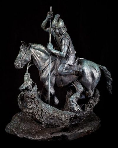 "ST. GEORGE SLAYING THE DRAGON, bronze, 27"" high. value, $12,500."