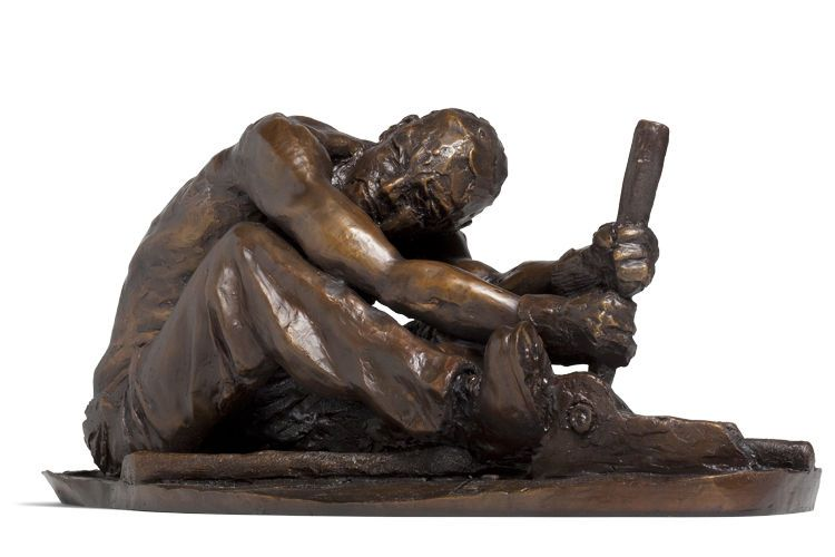 """The Deckhand, ( River Trilogy) bronze with mahogany base;         20""""x10""""x10"""";"""