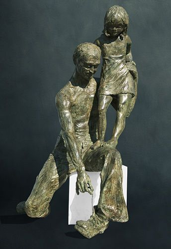 Reports of Her Day, Life-size bronze with marble base; unique, NFS