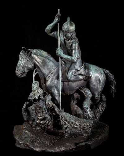 "ST.GEORGE SLAYING THE DRAGON, bronze, 27"" high,"