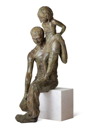 Reports of Her Day, life-size bronze with marble base; unique; NFS.