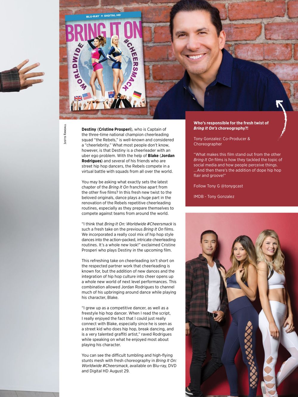 The Cast Of Bring It On 6 Photographed for Inside Cheerleading Magazine