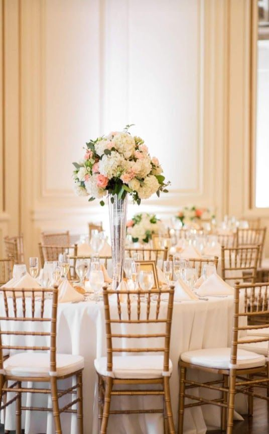 Elevated Hydragea and Rose Centerpiece