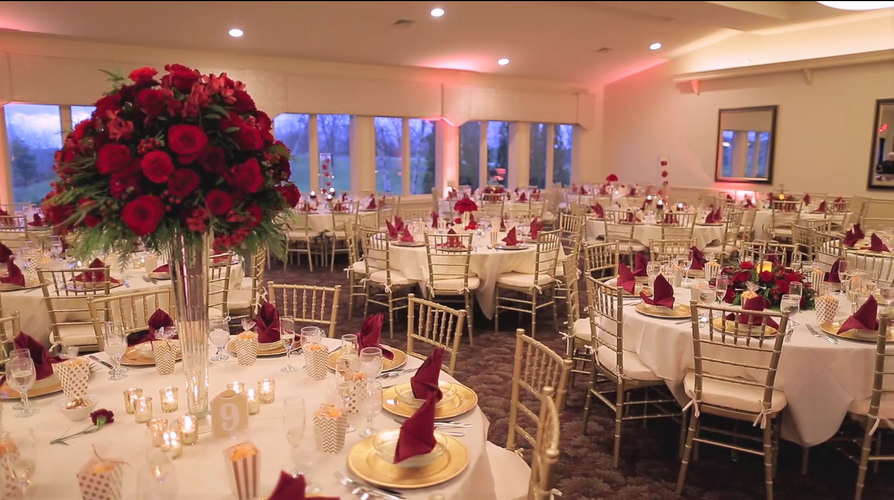 Red Rose Elevated Centerpiece, Greystone