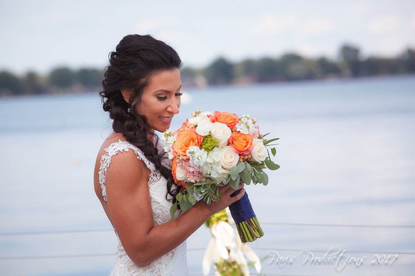 Coral Garden Rose Bridal Bouquet