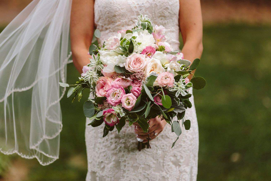 Asymetrical Rustic Peony and Garden Rose Bouquet in Pink
