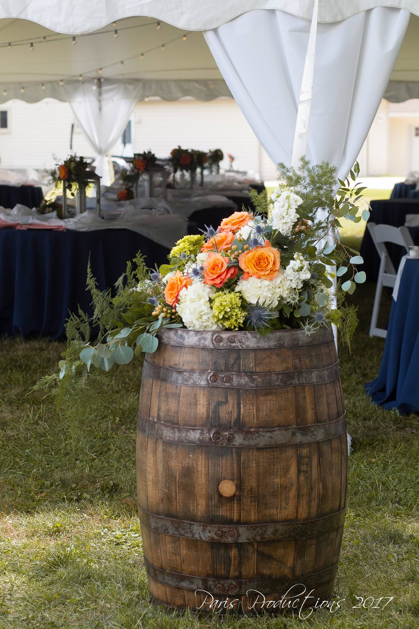 Wine Barrel Entrance Flowers