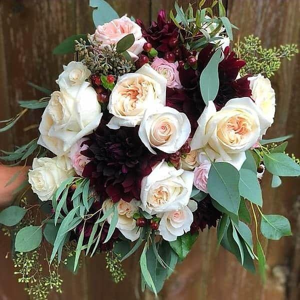 Bridal Bouquet with Maroon Dahlias at Shepherd's Hollow