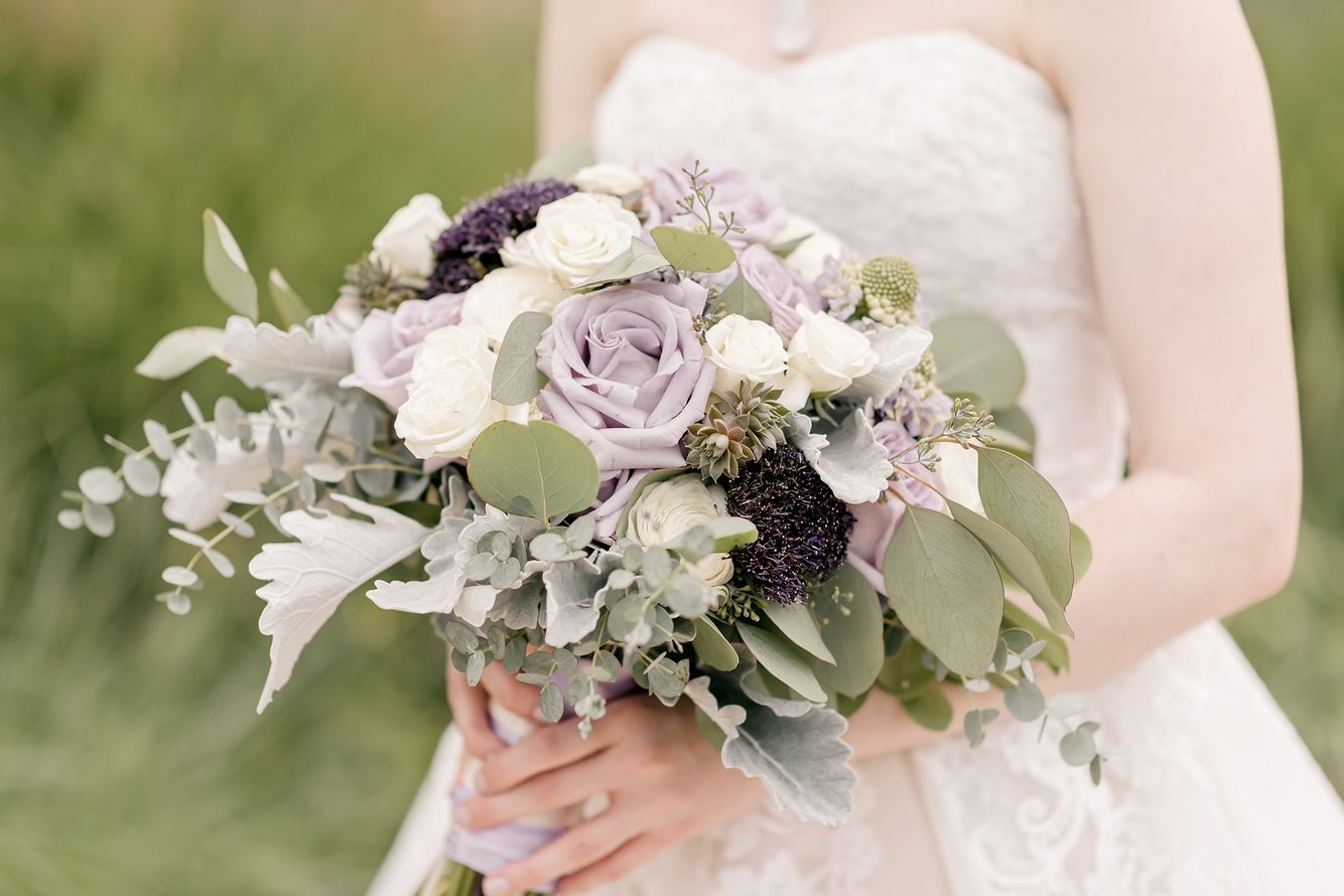 Lavender and Purple with Dusty Miller