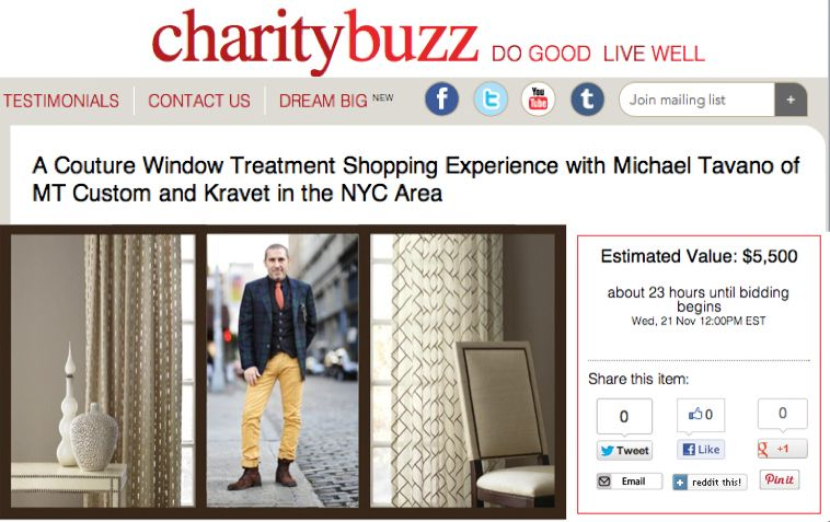 Celebrity Designer Consultation at Kravet for DIFFA via Charitybuzz