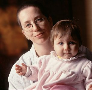 Maggie Housbrouck, artist, with daughter.