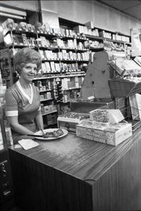 Cashier, Plaza Drugs, Atlanta, 1977.