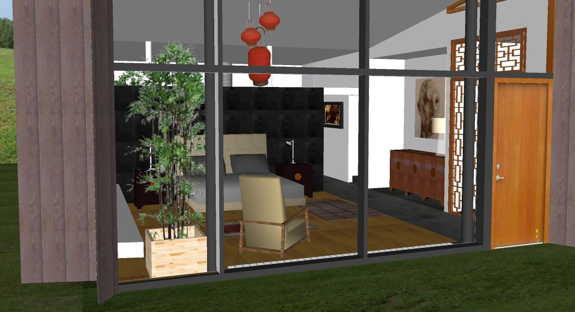 Proposed redesign of master bedroom viewed through curtain wall