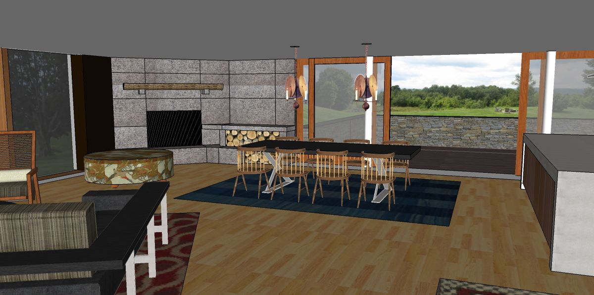 Proposed redesign for the open floor plan living/dining room -view 2