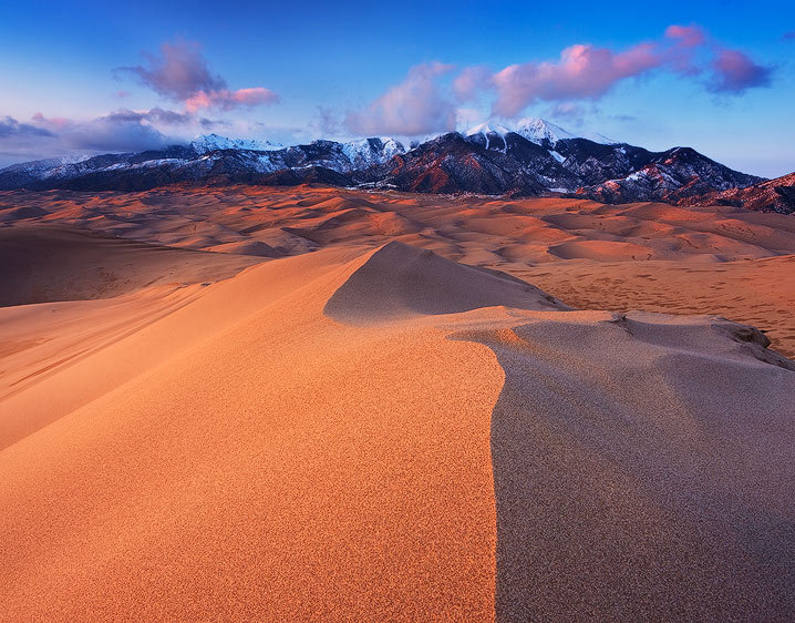 Golden Dunes and Sangre De Cristo Range at Sunset