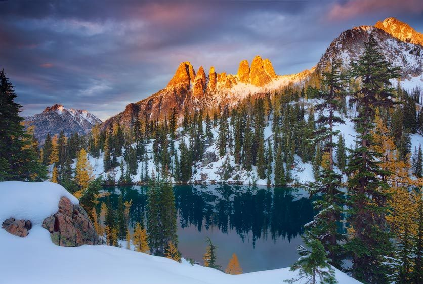 Early Winters Spires Alpenglow from Blue Lake