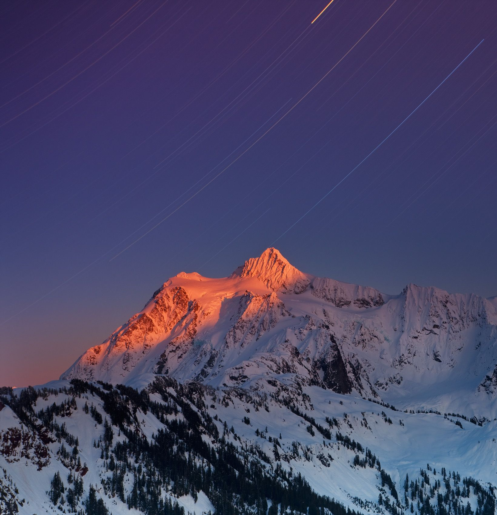 Shuksan Winter Sky with Star Trails