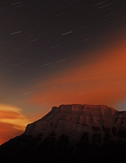 Night Sky Over Mount Rundle