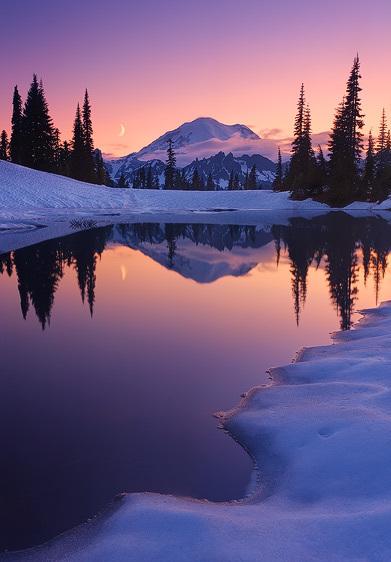 Twilight Tarn and Crescent Moon, Mount Rainier