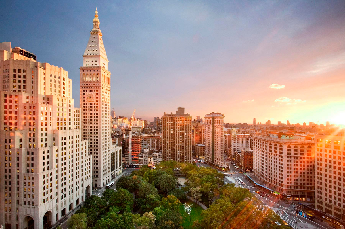 Sunset over Madison Square Park, NYC
