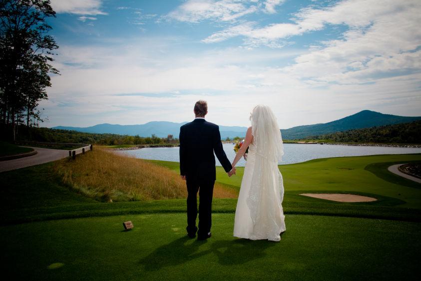 Landwehrle Photography, Stowe Mountain Lode Wedding in Stowe Vermont, Stowe Mountain Lodge wedding,  wedding photo on stowe mountain lodge golf course, Bride, Groom, romantic,love,moment,  feature desination fun, Boston Magazine