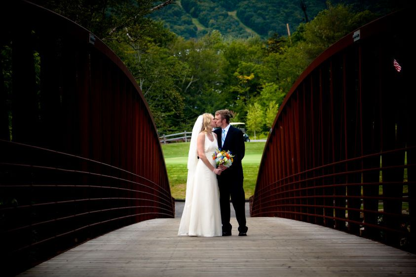 PortraitsPortraits,Landwehrle Photography, Stowe Mountain Lode Wedding in Stowe Vermont, Stowe Mountain Lodge wedding,  wedding photo on stowe mountain lodge golf course, Bride, Groom, romantic,love,moment