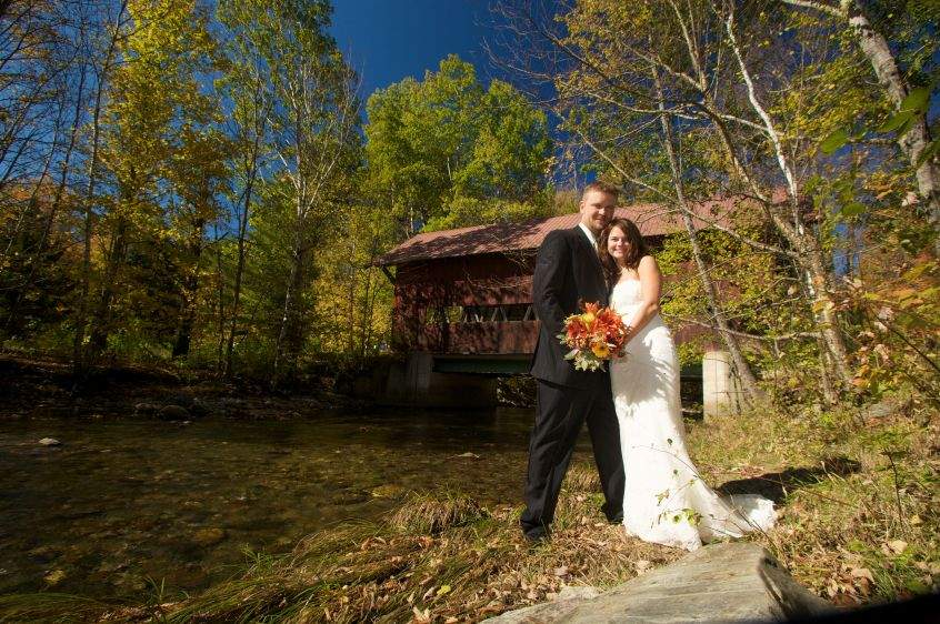 Wedding Photo Stowe Vermont Covered Bridge