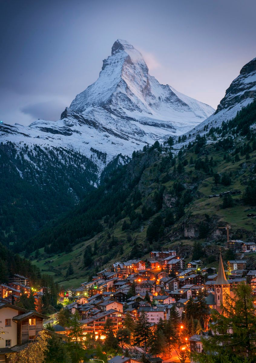 Zermatt and the Matterhorn at Night, Switzerland