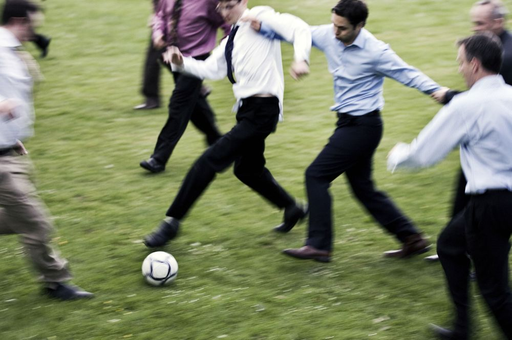 Wedding Party Playing football