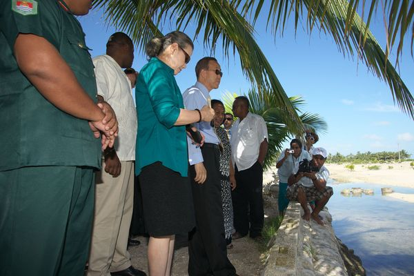 The UN Secretary-General at Tebikenikora Village