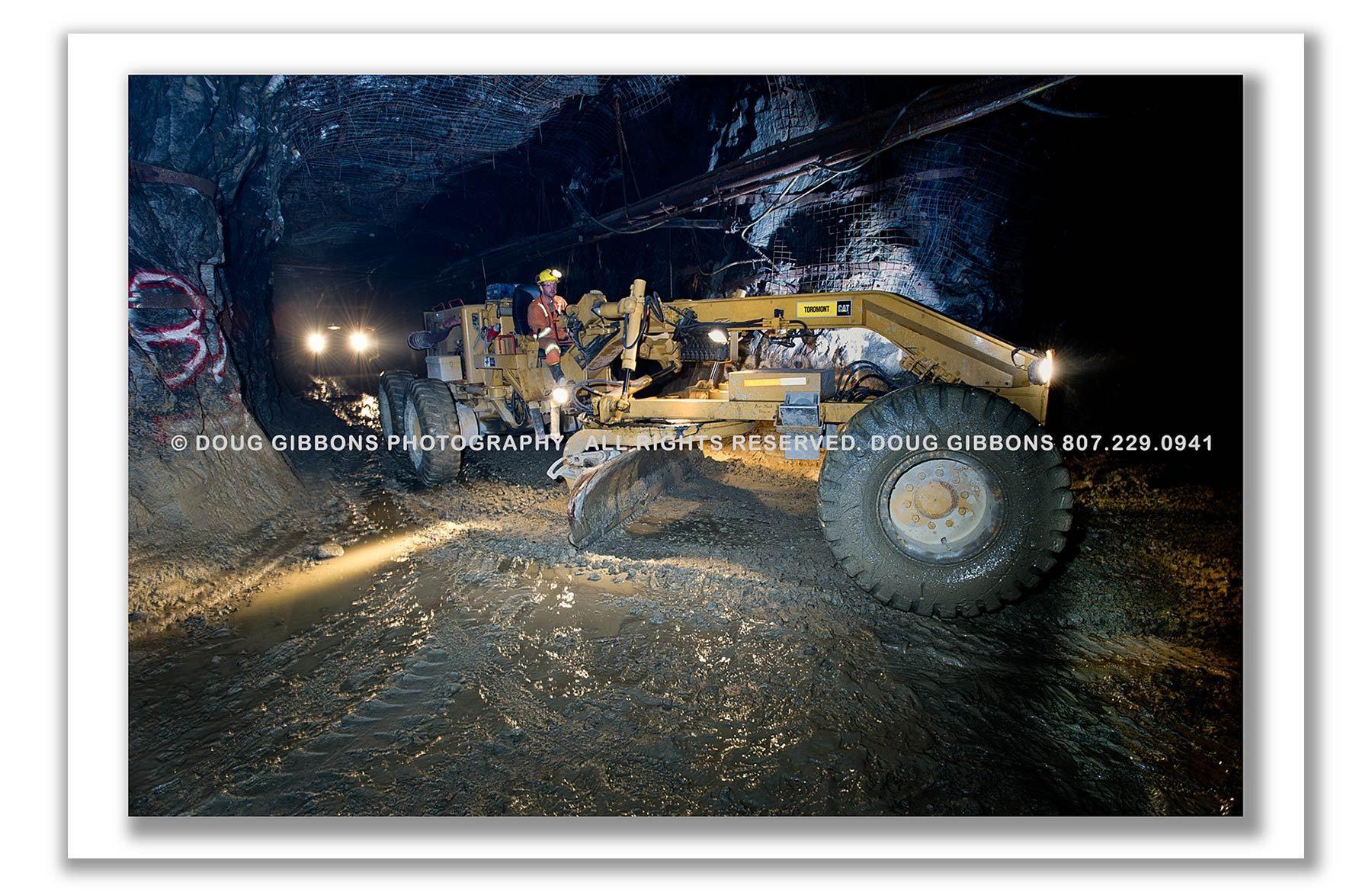 Underground Road Maintenance at David Bell Mine