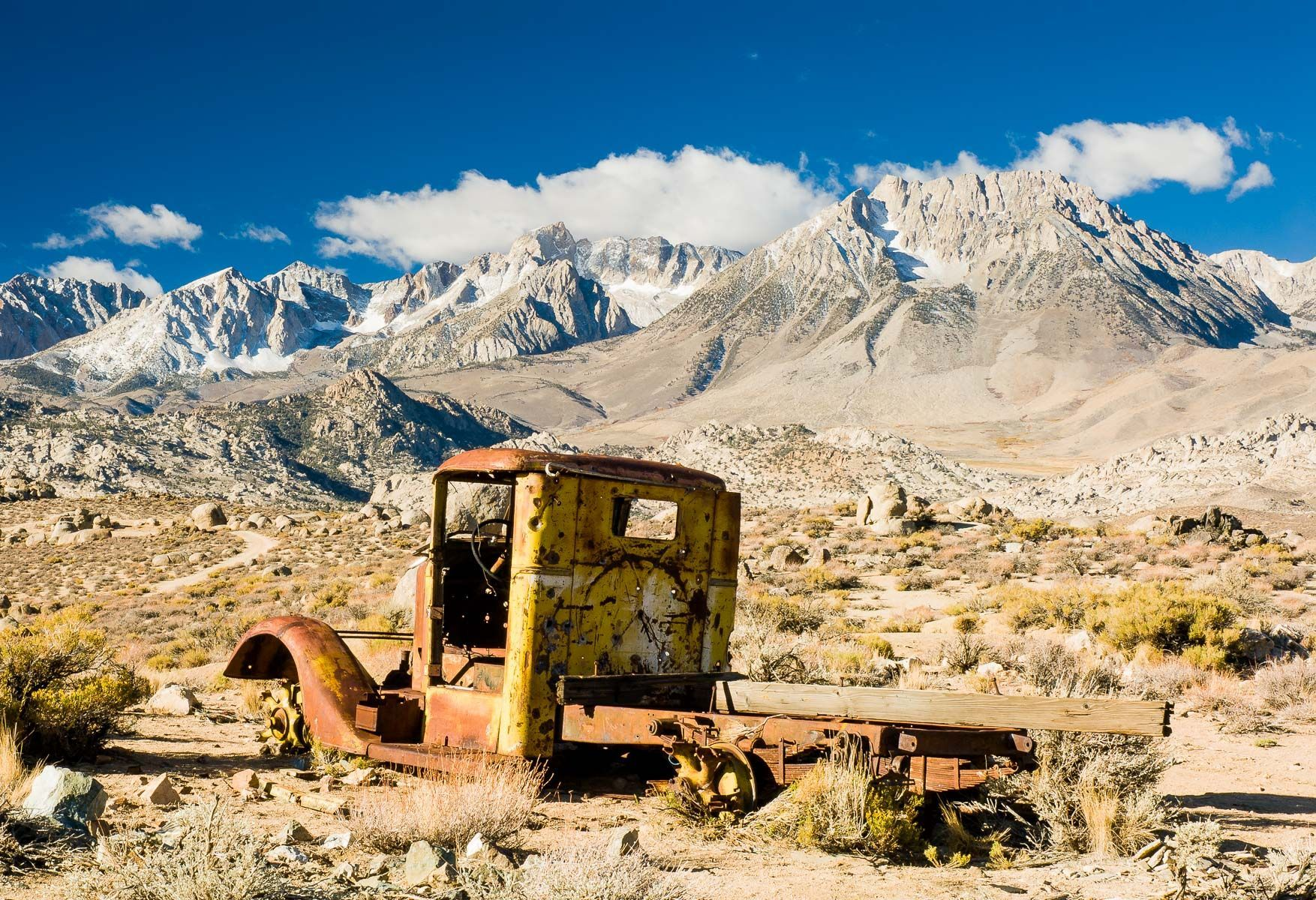 Abandoned Mining Truck in front of the Eastern Sierras