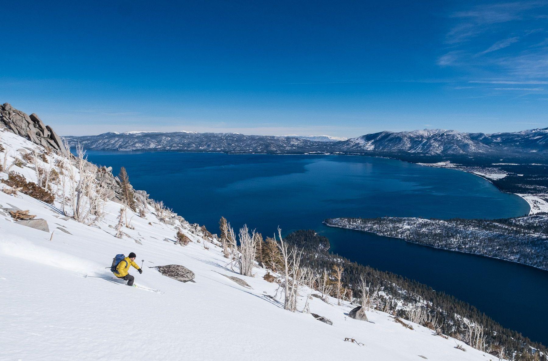 Backcountry skiing above lake Tahoe