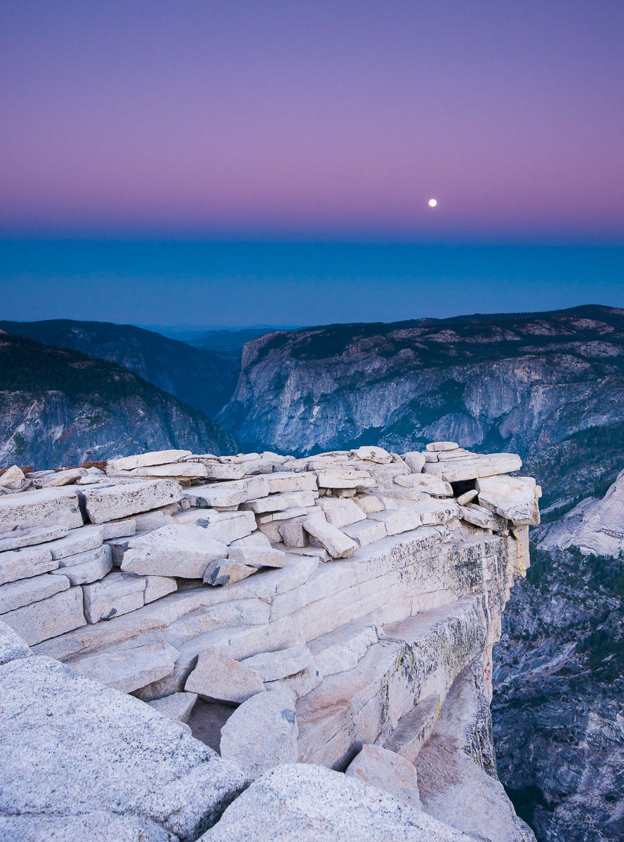 """Full Moon Setting over Yosemity Valley from the Summit """"Diving Board"""" of Half Dome"""