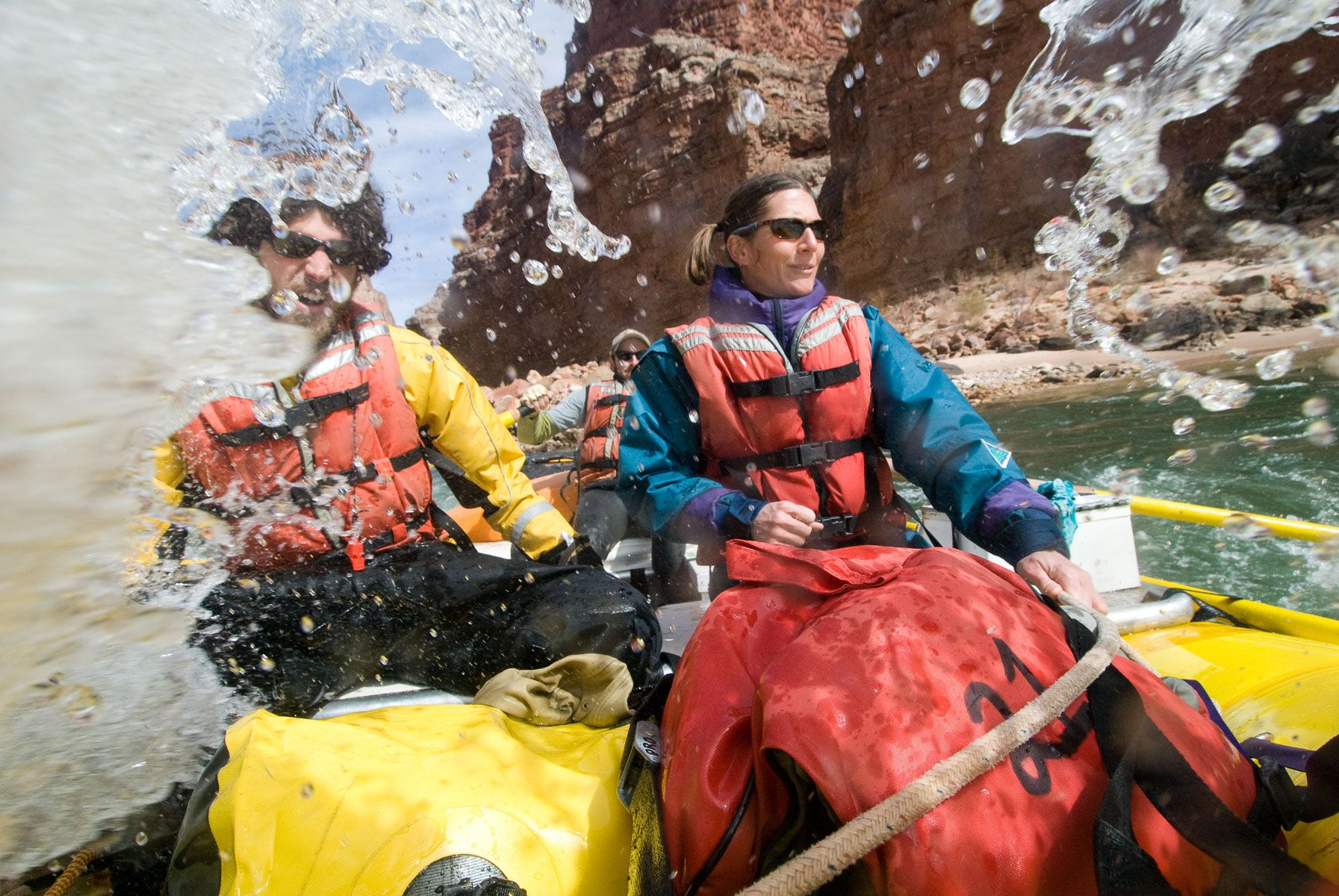 Rafters About to Get a Face Full of Water on the Colorado River