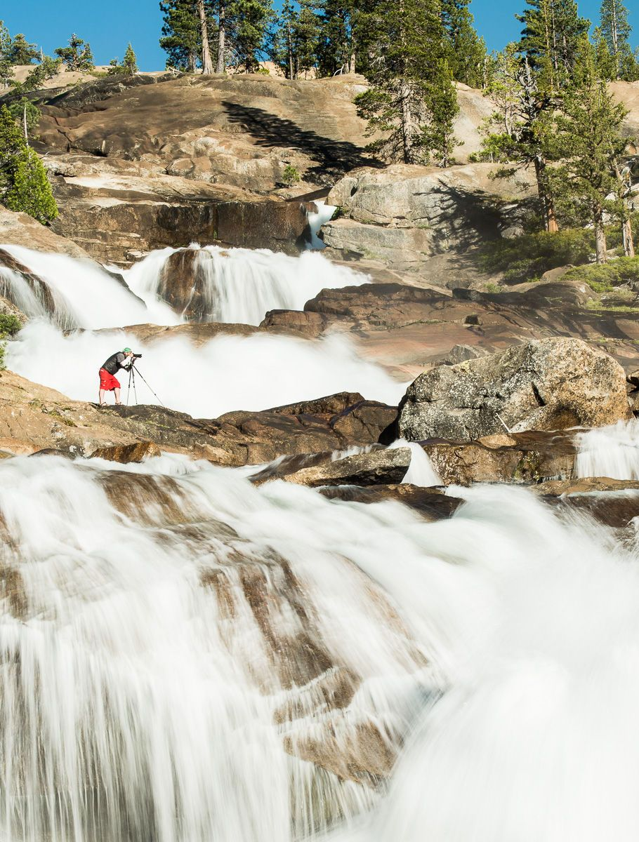 Man Photographing Waterwheel falls on the Tuolumne River