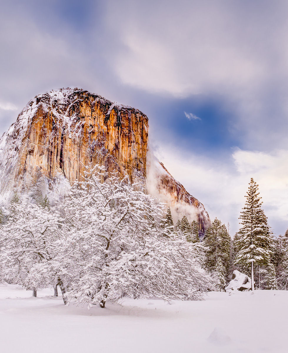 El Capitan surrounded by Fresh Snow