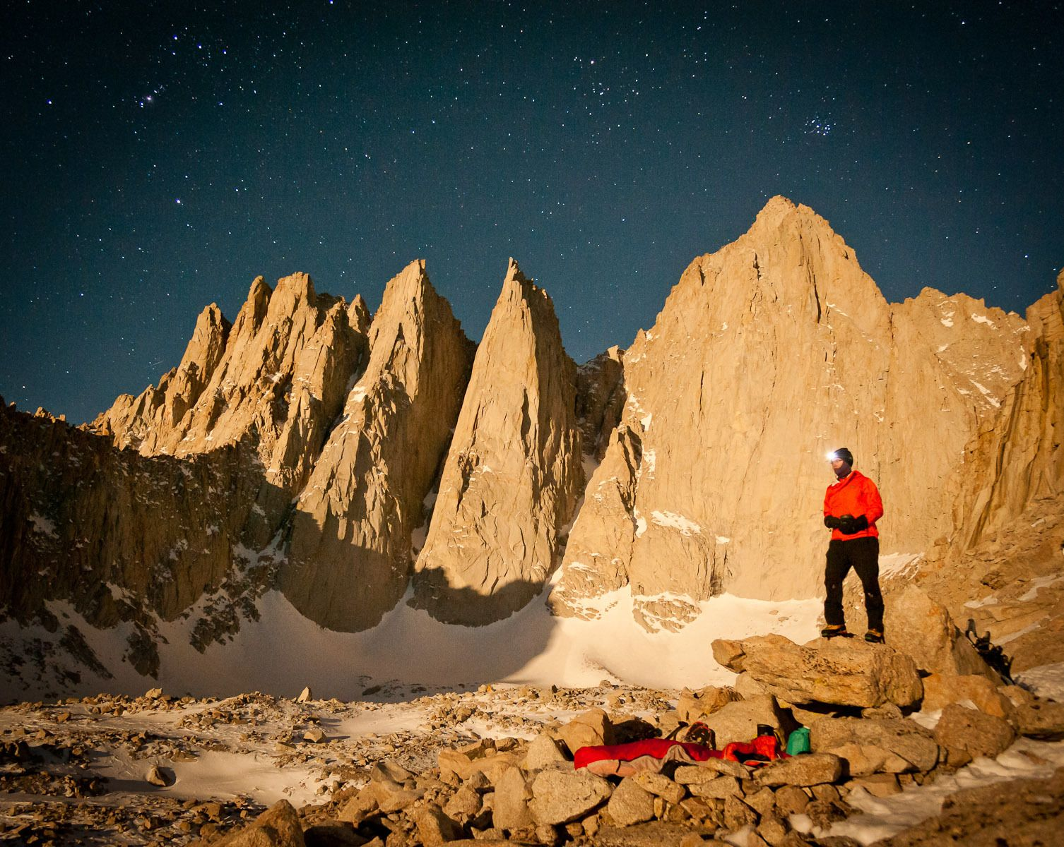 Climber Preparing for a Winter Bivy below the Mount Whitney Massif